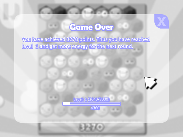 The game over screen showing the players progress