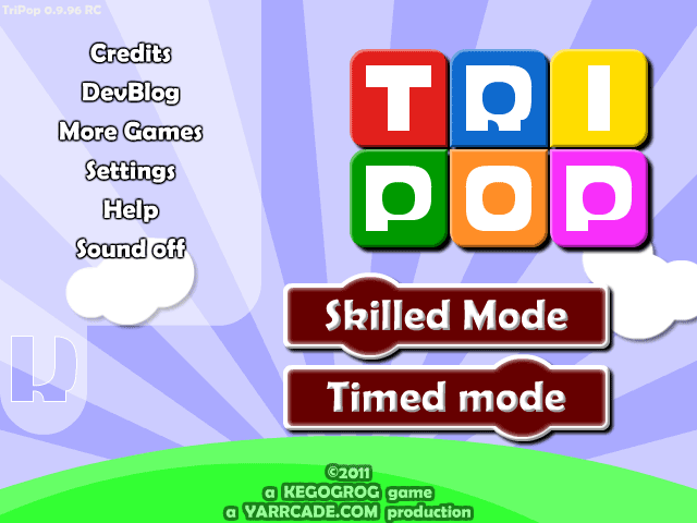 The TriPop menu screen