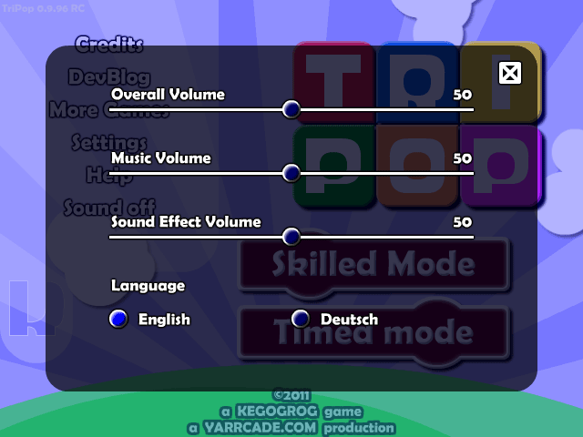 The TriPop settings screen