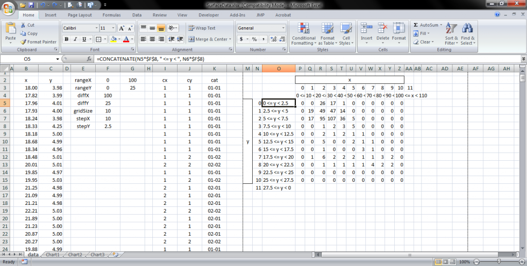 The surface.xlsx spreadsheet